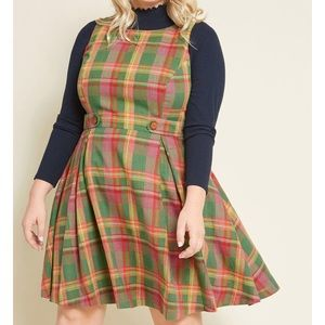 Something Sixties cotton-linen dress Plaid